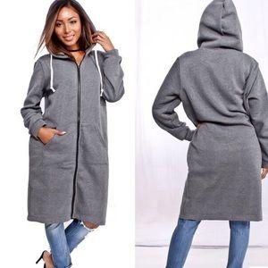 Jackets & Blazers - Charcoal long length hoodie jacket